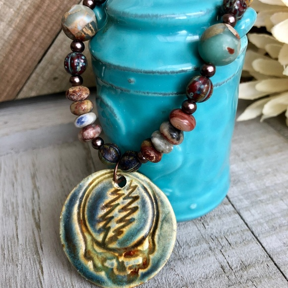 Steal your face Grateful necklace teal